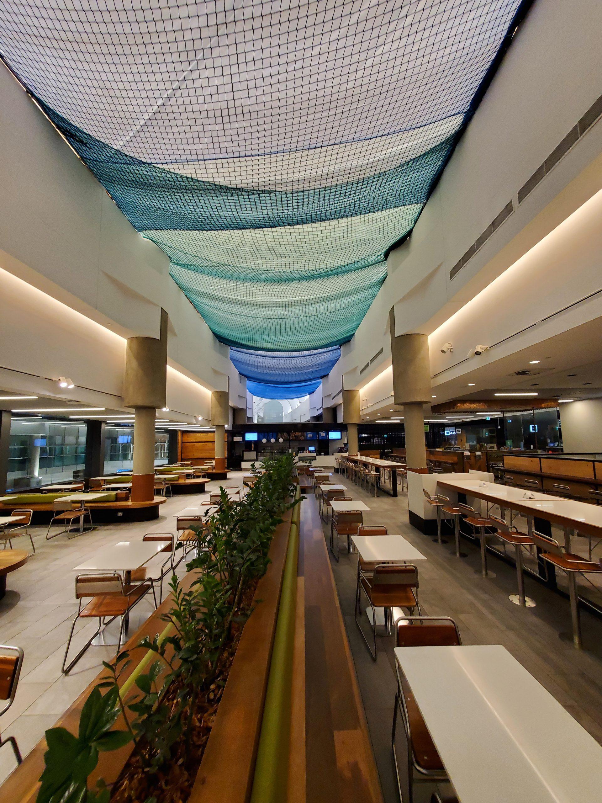 brisbane airport roof with mesh netting